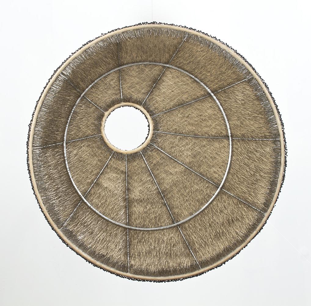 "Elements, back view, black glass head pins, steel frame, linen and wax, 2.5'diameter x 8"" deep, 2006/2012"