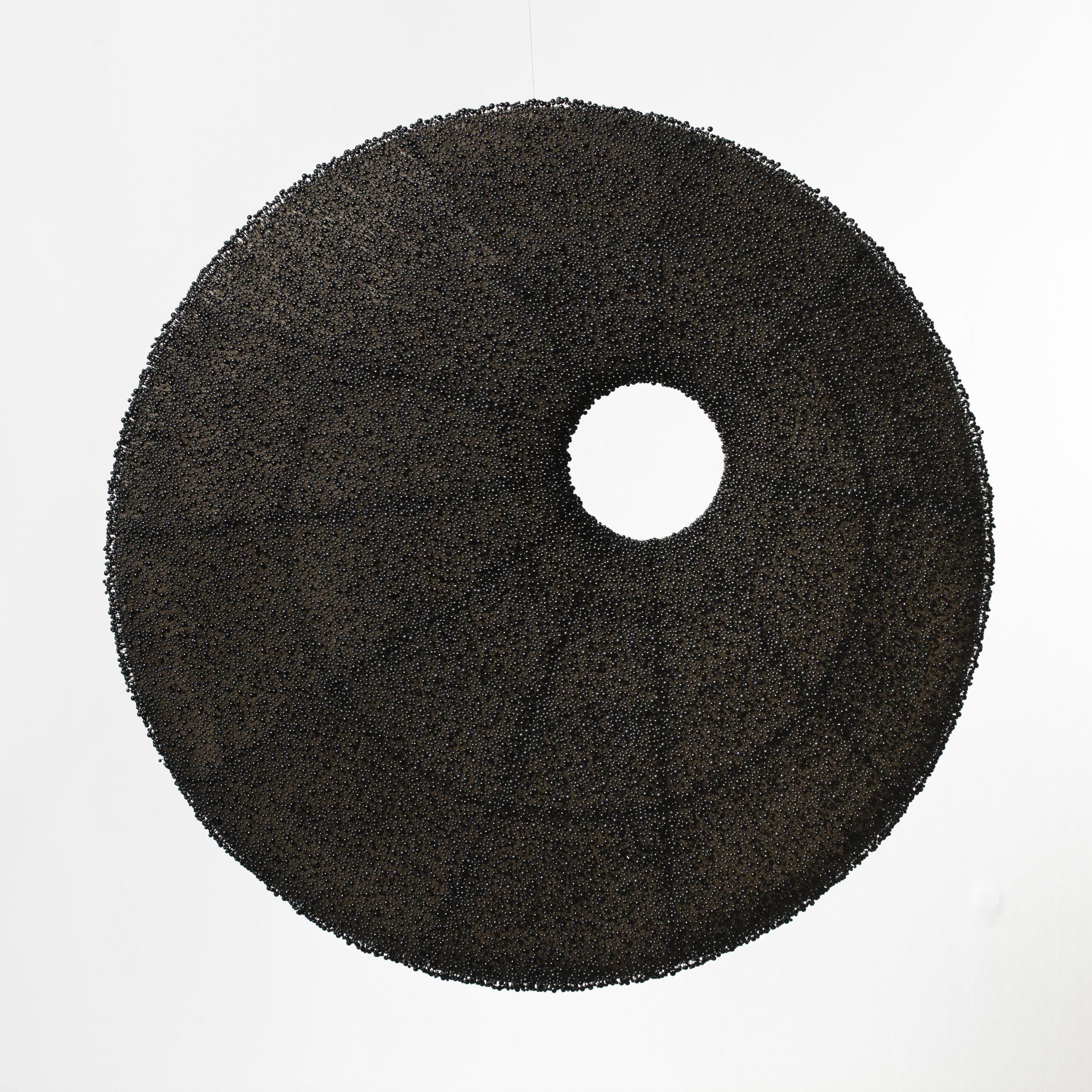 "Elements, front, black glass head pins, steel frame, linen and wax, 2.5'diameter x 8"" deep, 2006/2012"
