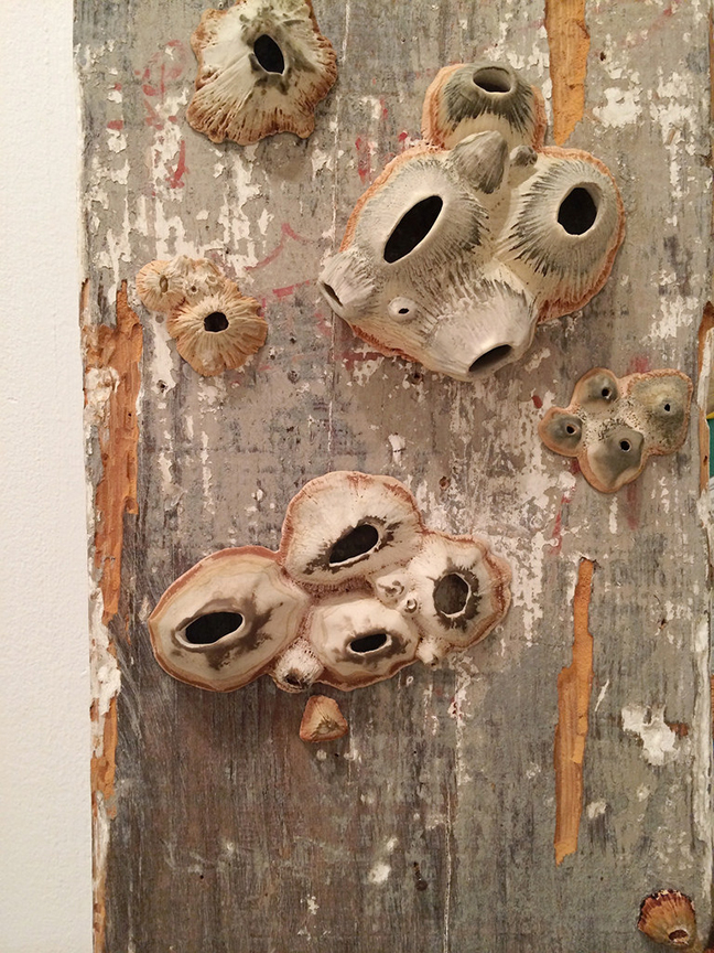 Emersion, hand-built porcelain, rust, tea, installation detail at Brooklyn Fire Proof Gallery, Brooklyn, NY, 2015