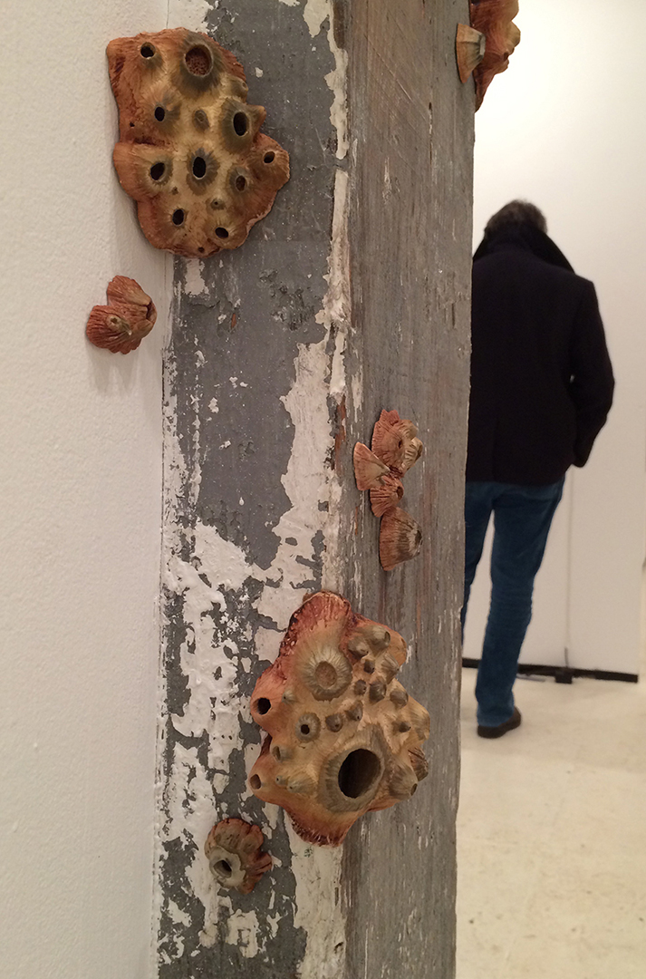 Emersion, hand-built porcelain, rust, tea, installation at Brooklyn Fire Proof Gallery, Brooklyn, NY, 2015