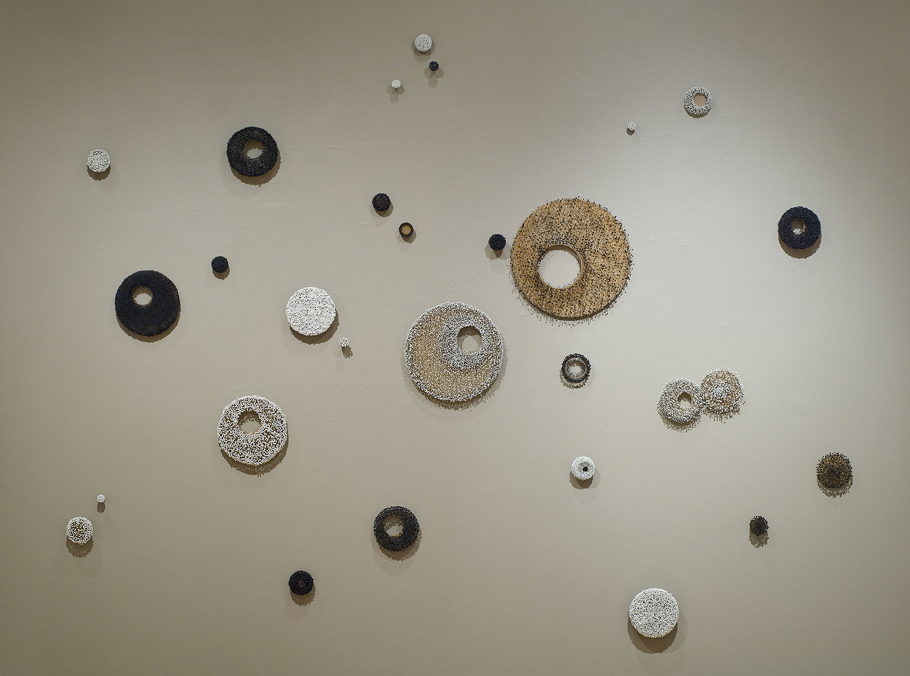 Full Circle, florist pins on waxed fabric and steel hoops, 12'x12'x12', installation size may vary with site, 2015