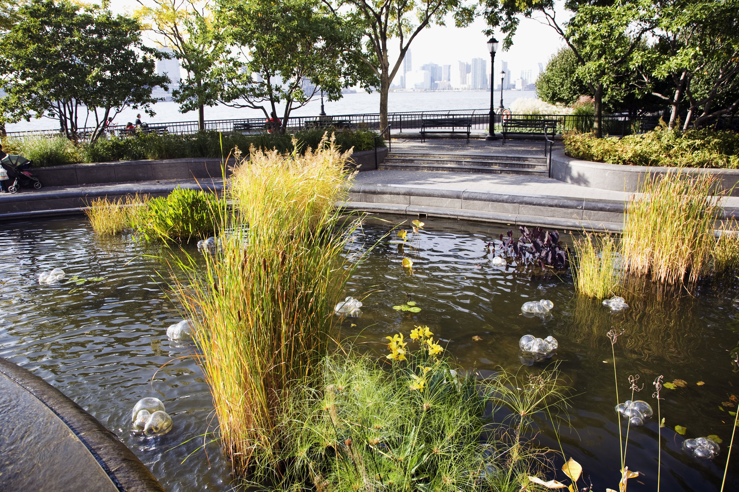 Equilibrium, blown glass on site in Battery Park City, NYC, size variable per site, 2008