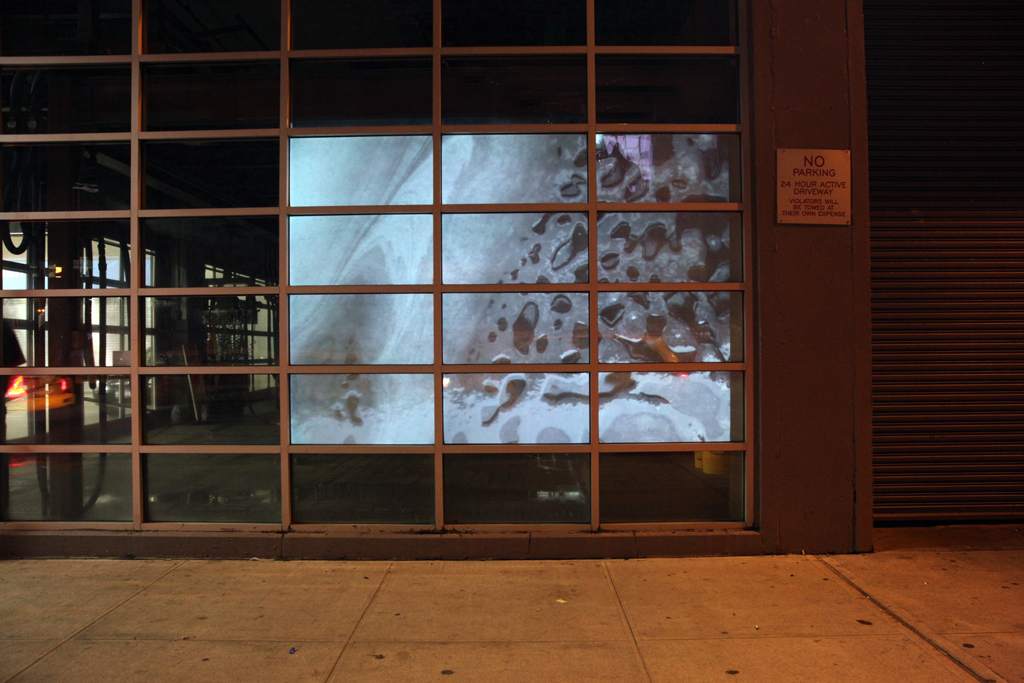 Full Service Island, video detail, collaboration with artist Christy Speakman for Art In Odd Places, SIGN:2009, NYC, multi-channel video, 9'x11'