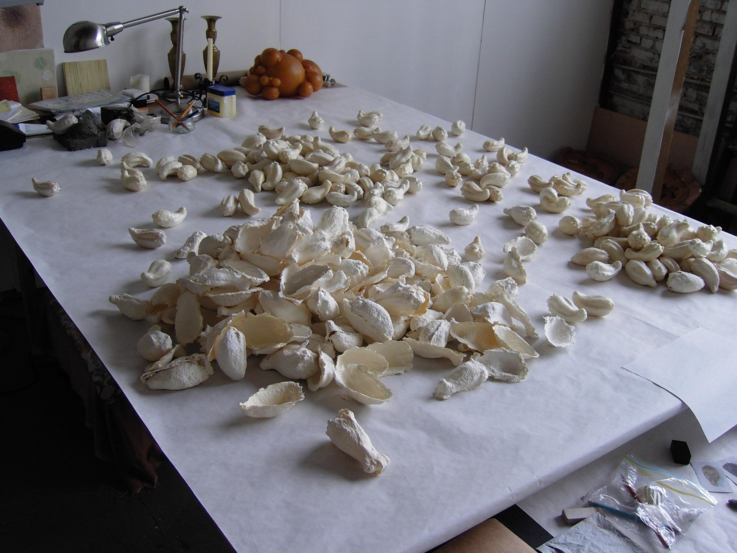 Emerge, cast cotton paper pulp, studio view, size variable, 2005/2007