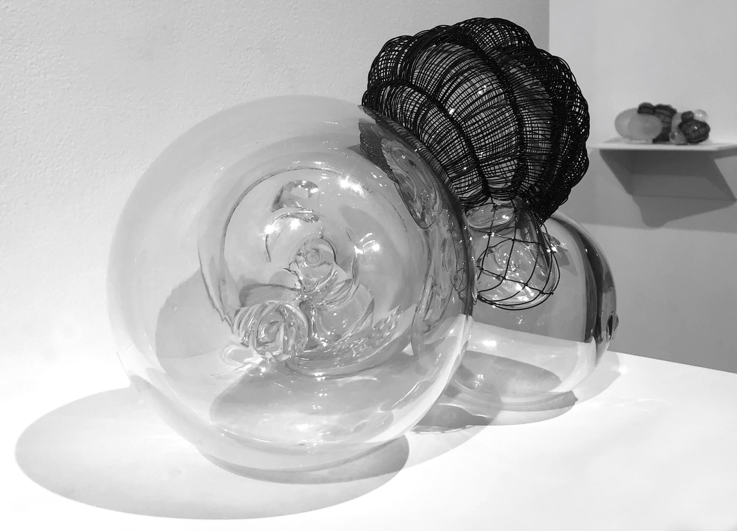 """Caged 3, blown glass with woven steel wire, 10""""x10""""x9"""" , 2018"""