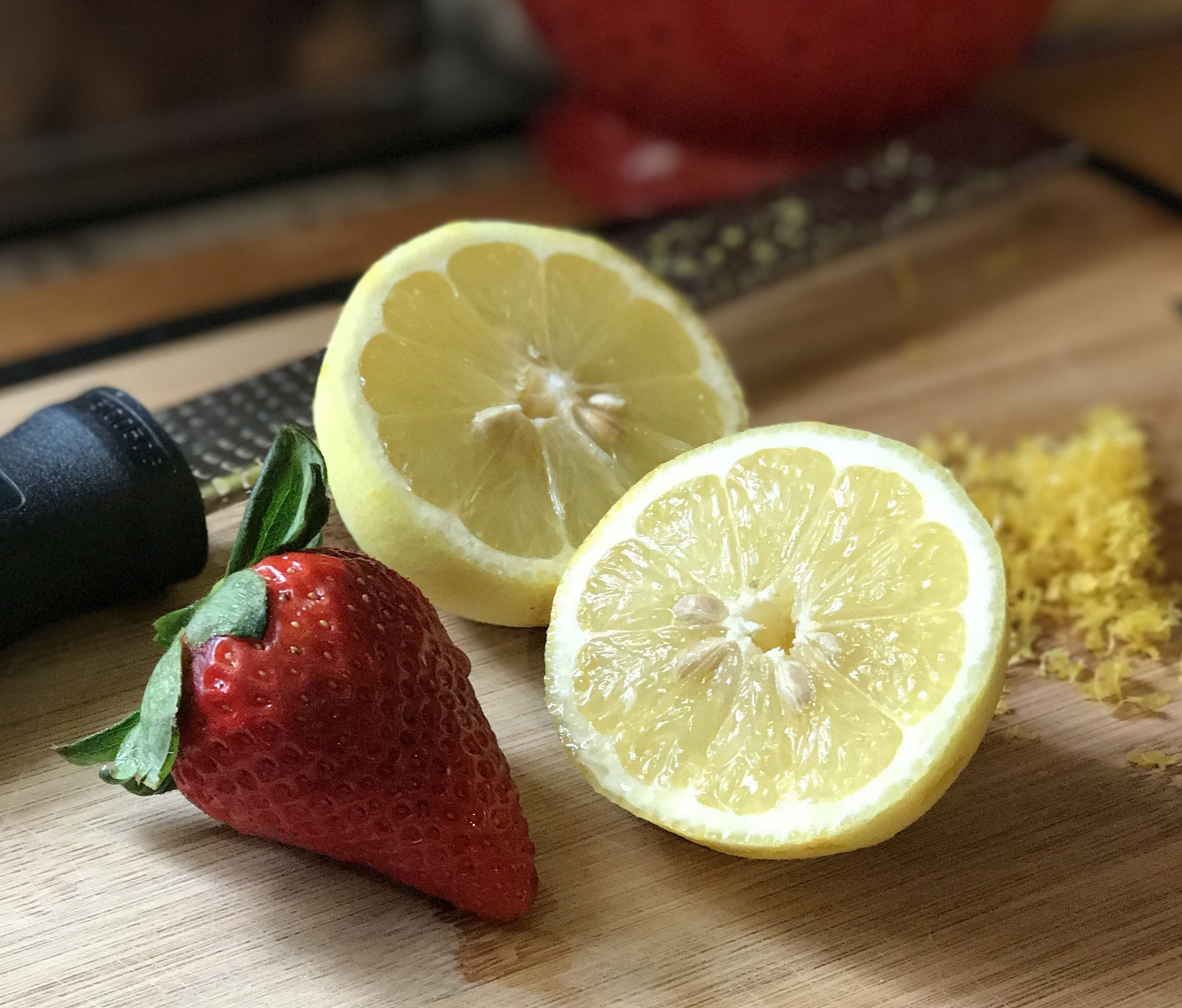 Fresh Lemon zest and strawberries