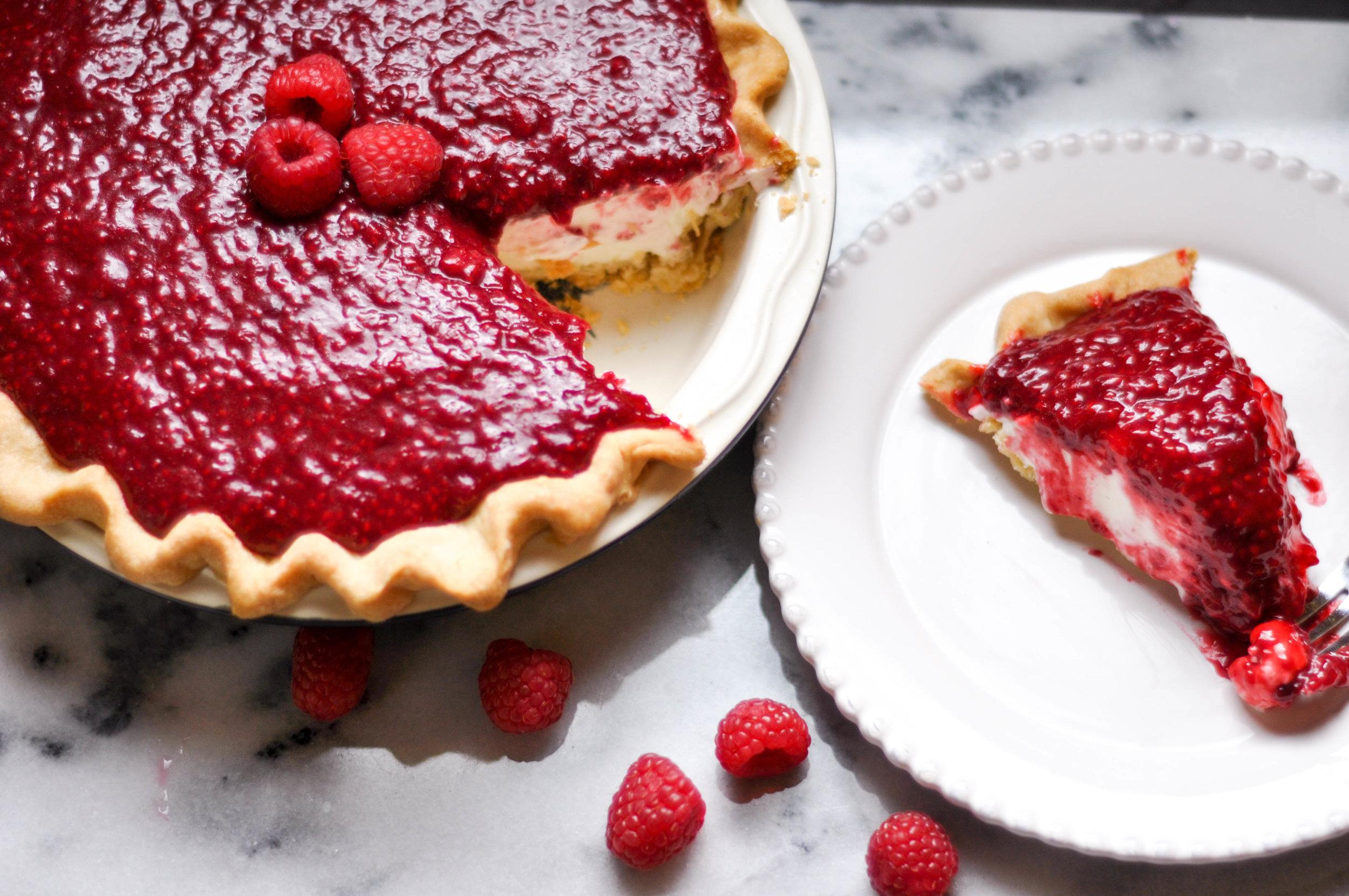 Finished Rasberry Cream pie and slice.jpg
