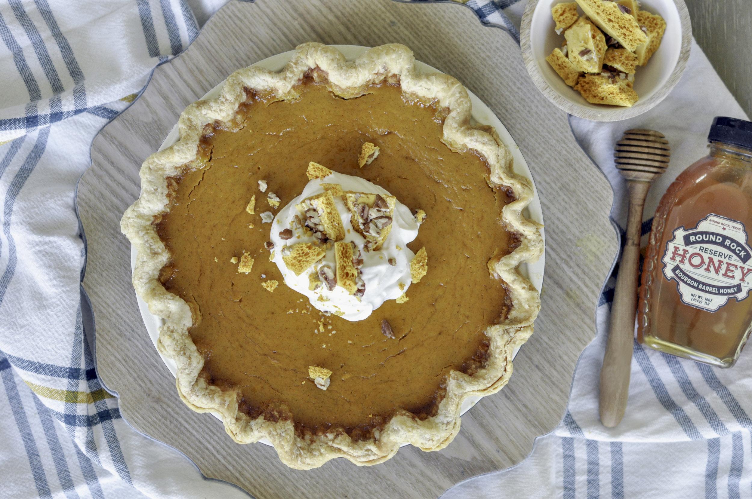 Pecan Honeycomb Buttermilk Pumpkin Pie_Whole Pie Overhead.jpg