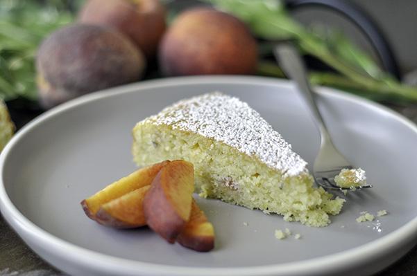 Peach Bourbon snack cake_CU slice bite.jpg