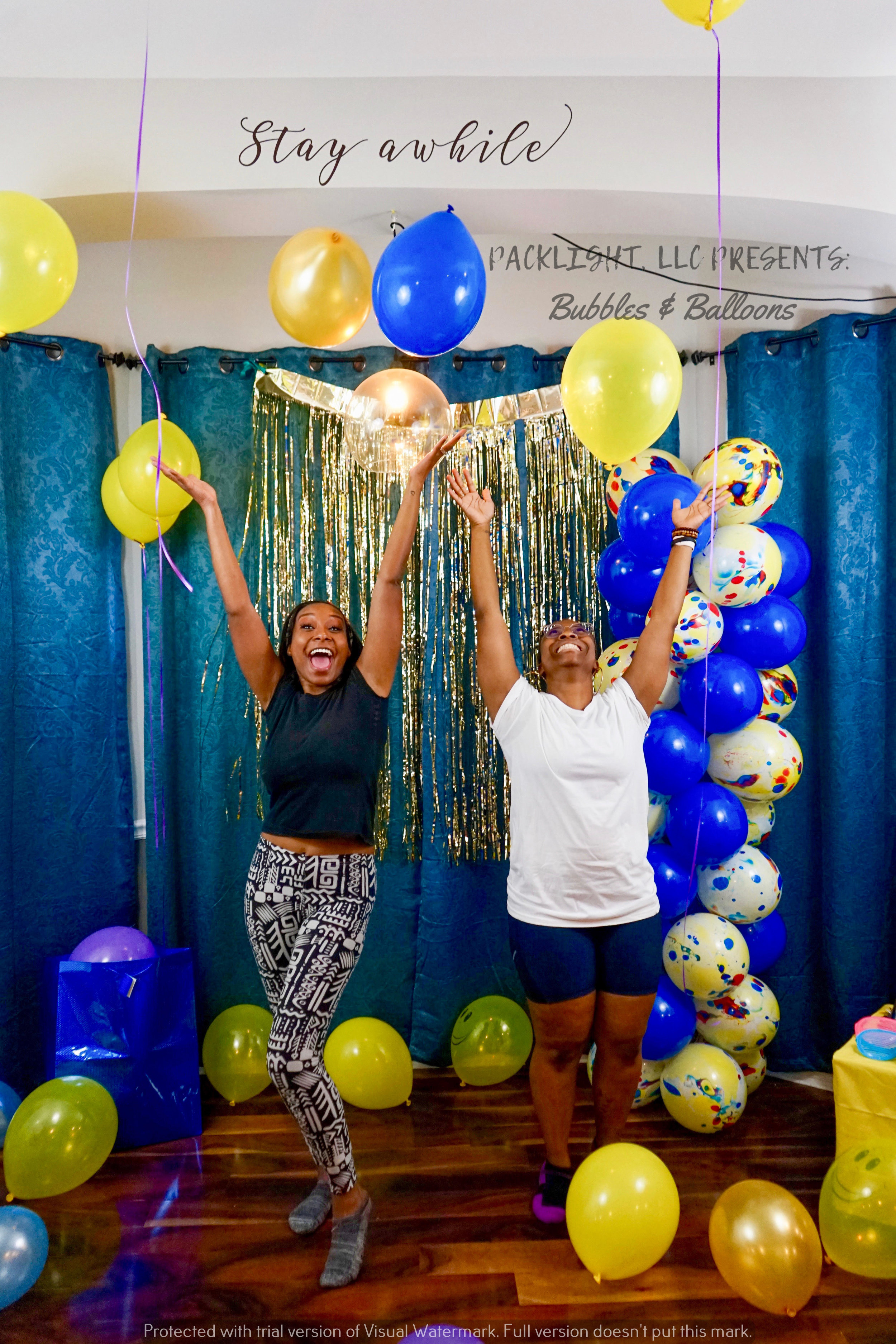 Handmade backdrop and balloon structure.