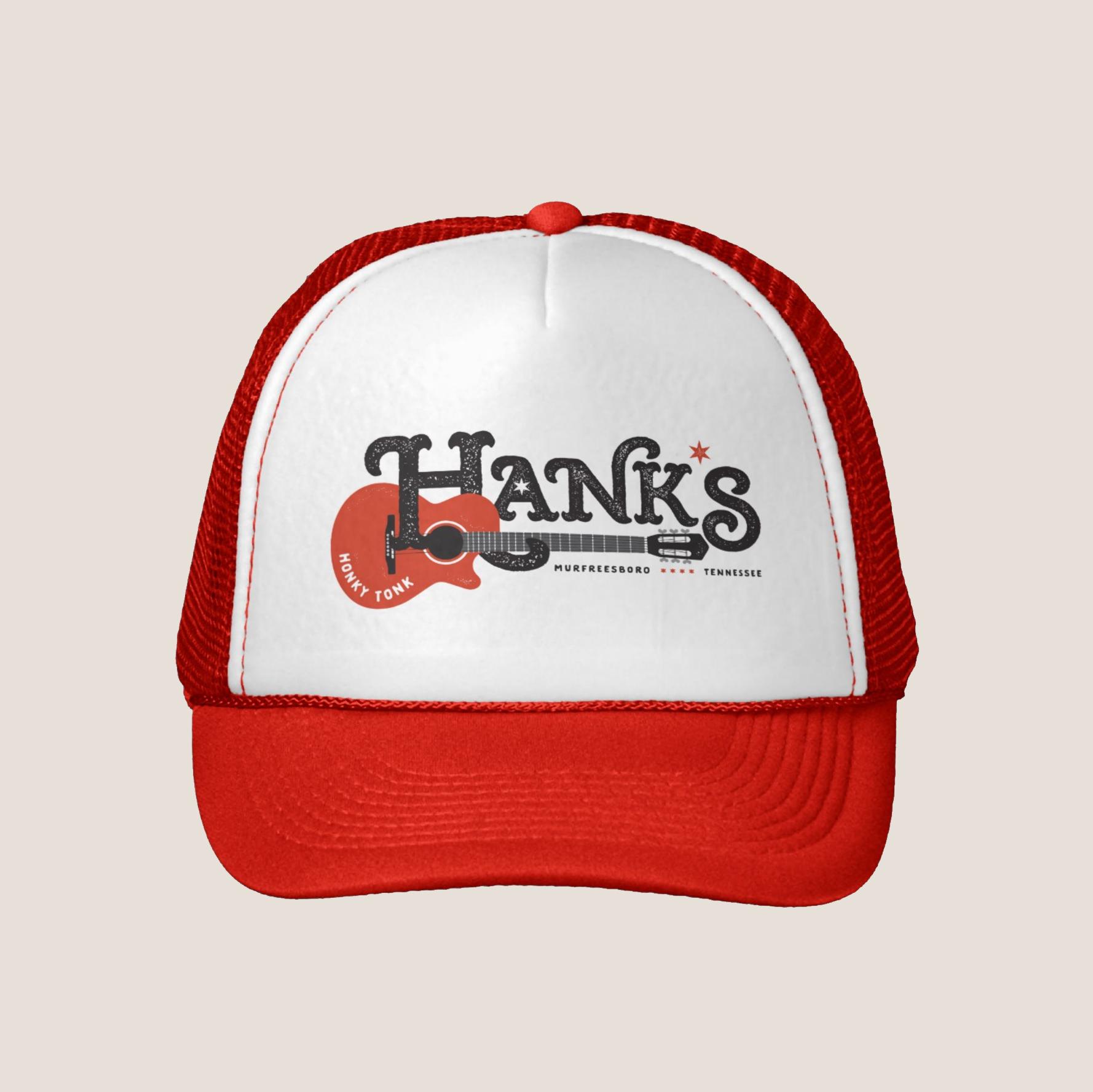 Hank*s Red Guitar Trucker| $14.95