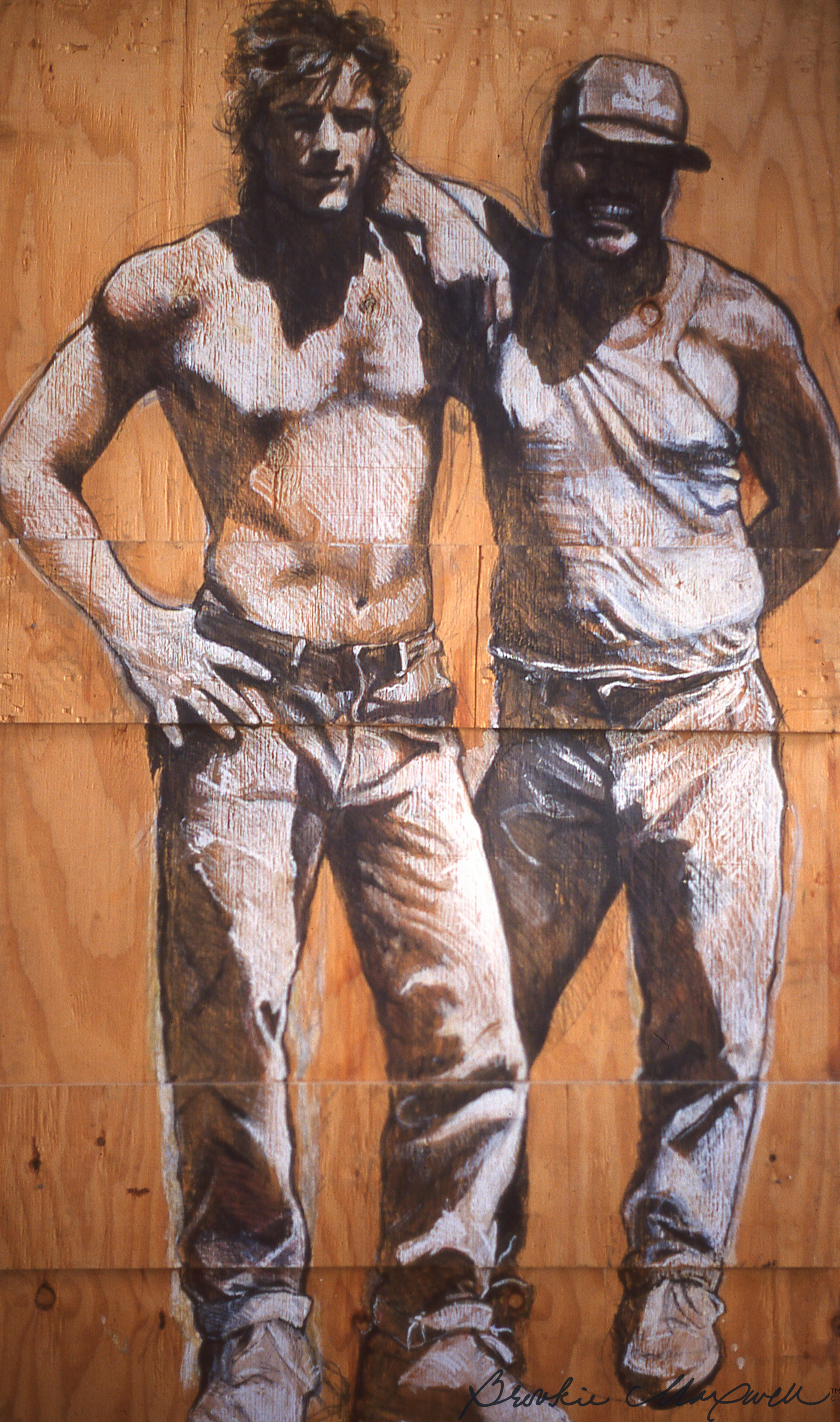 """Chico & Joe ,Caran d'ache crayon and watercolor on plywood,86 x 48"""", 1987-1990"""
