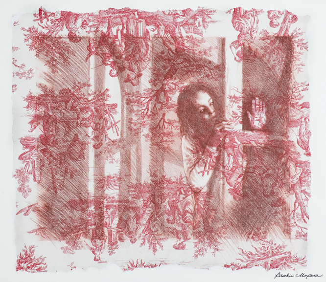 """Study for Annunciation III:  Adrianna,Caran d'ache crayon on red toile paper,28.25"""" x 33""""x .5"""", 2006"""