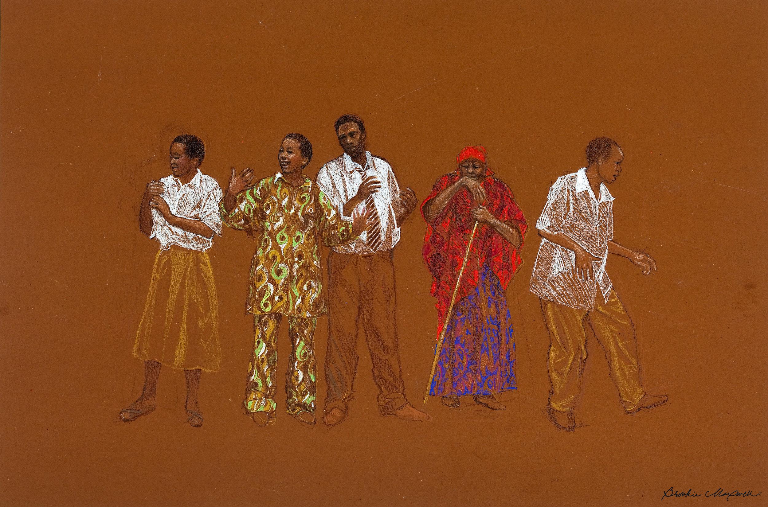 "Kabisa Kabisa / True! Study 9 ,Caran d'ache on Canford Imperieal Paper,20 x 30"",2009"