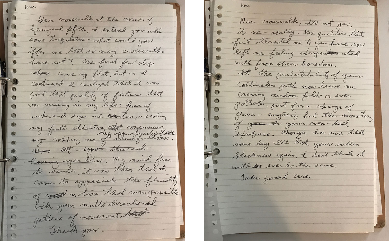 A set of letters shared by a participant