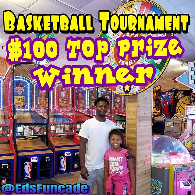 Another $100.00 Winner @edsfuncade in our Nightly Basketball Tournaments. Come play every night after 7pm in the best Skeeball & Basketball Tournaments in Wildwood. New tournament every 15 mins all day long. #summer #wildwood #nj #jerseyshore #boardwalk #giveaway #drawing #beach #skeeball #arcade #theshore #winner #eds #jackpot #skeeball #basketball #tournament
