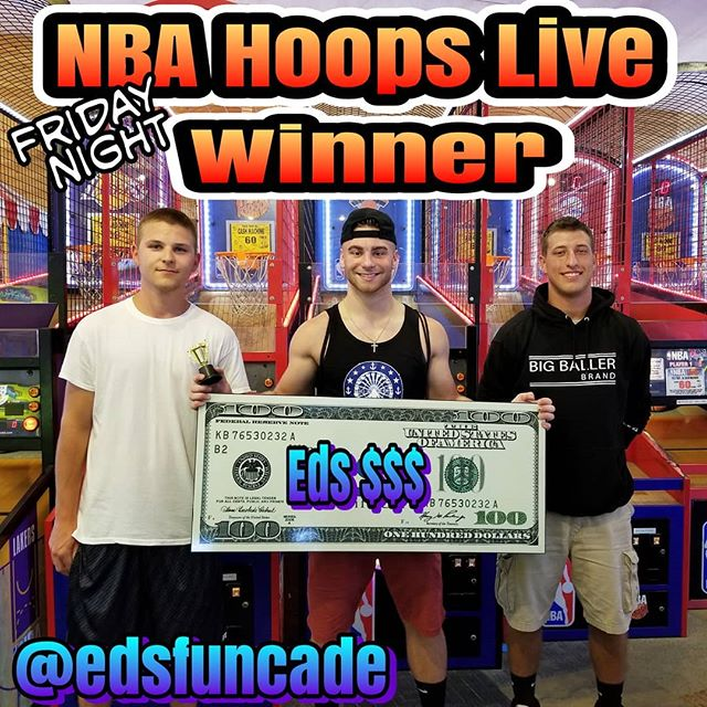 Congrats to Matt winning $100 of Ed's money @edsfuncade Friday Night NBA Hoops Tournaments. Get your chance every Friday night in July and August 6pm-9pm. #summer #wildwood #nj #jerseyshore #boardwalk #giveaway #drawing #beach #skeeball #arcade #theshore #winner #eds #jackpot #wonka #willywonka #basketball #nba