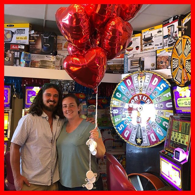 Ashlee hits TOP prize and Patrick proposed! Congratulations on a beautiful engagement, Ashlee & Patrick for ever! #proposal #wedding #edsfuncade #wildwood  #jerseyshore #love