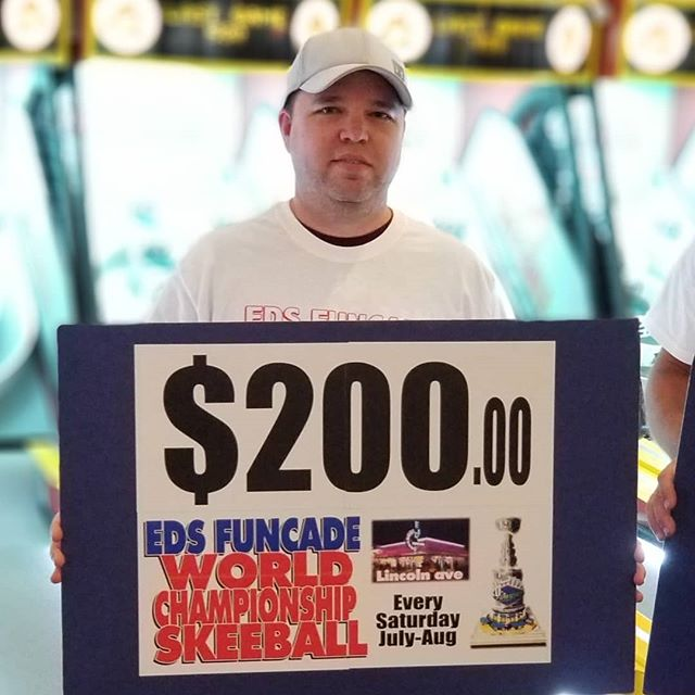 Week 2 World Championship Skeeball winner Austin. Giving away EDS money every Saturday Night in July & August 6pm-9pm. #summer #wildwood #nj #jerseyshore #boardwalk #giveaway #drawing #beach #skeeball #arcade #theshore #winner #eds #jackpot #wonka #willywonka