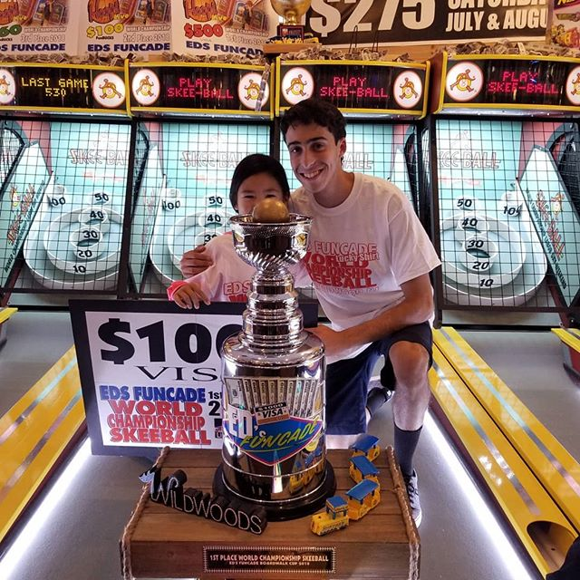 Congrats Elan! Back 2 Back winner of The 7th annual World Championship Skeeball Tournament held @EdsFuncade every Saturday Labor Day Weekend. Join us Labor Day Weekend 2019 for your chance to take home Eds famous Boardwalk Cup. #summer #wildwood #nj #jerseyshore #boardwalk #giveaway #drawing #beach #skeeball #arcade #theshore #winner #eds #jackpot #back2back #champion #trophy #championship #wildwood365