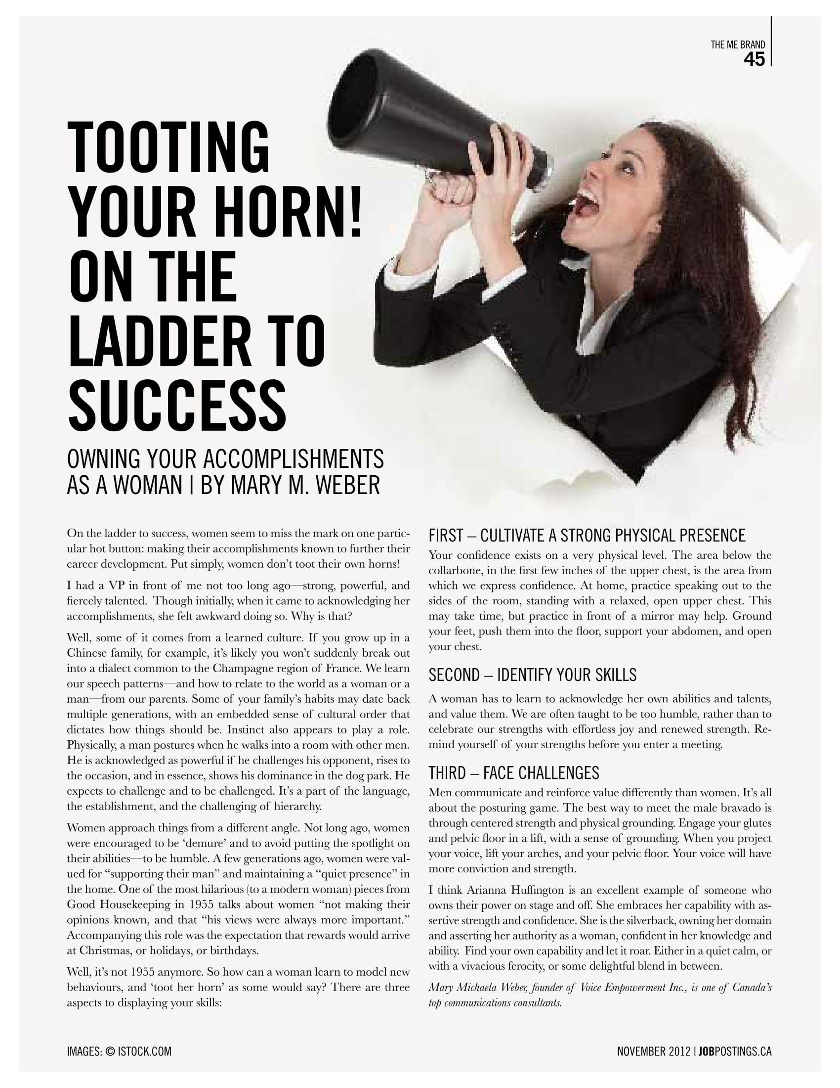 Tooting Your Horn! On The Ladder To Success:Owning Your Accomplishments as a Woman - November 2012The Me Brand -Page 45