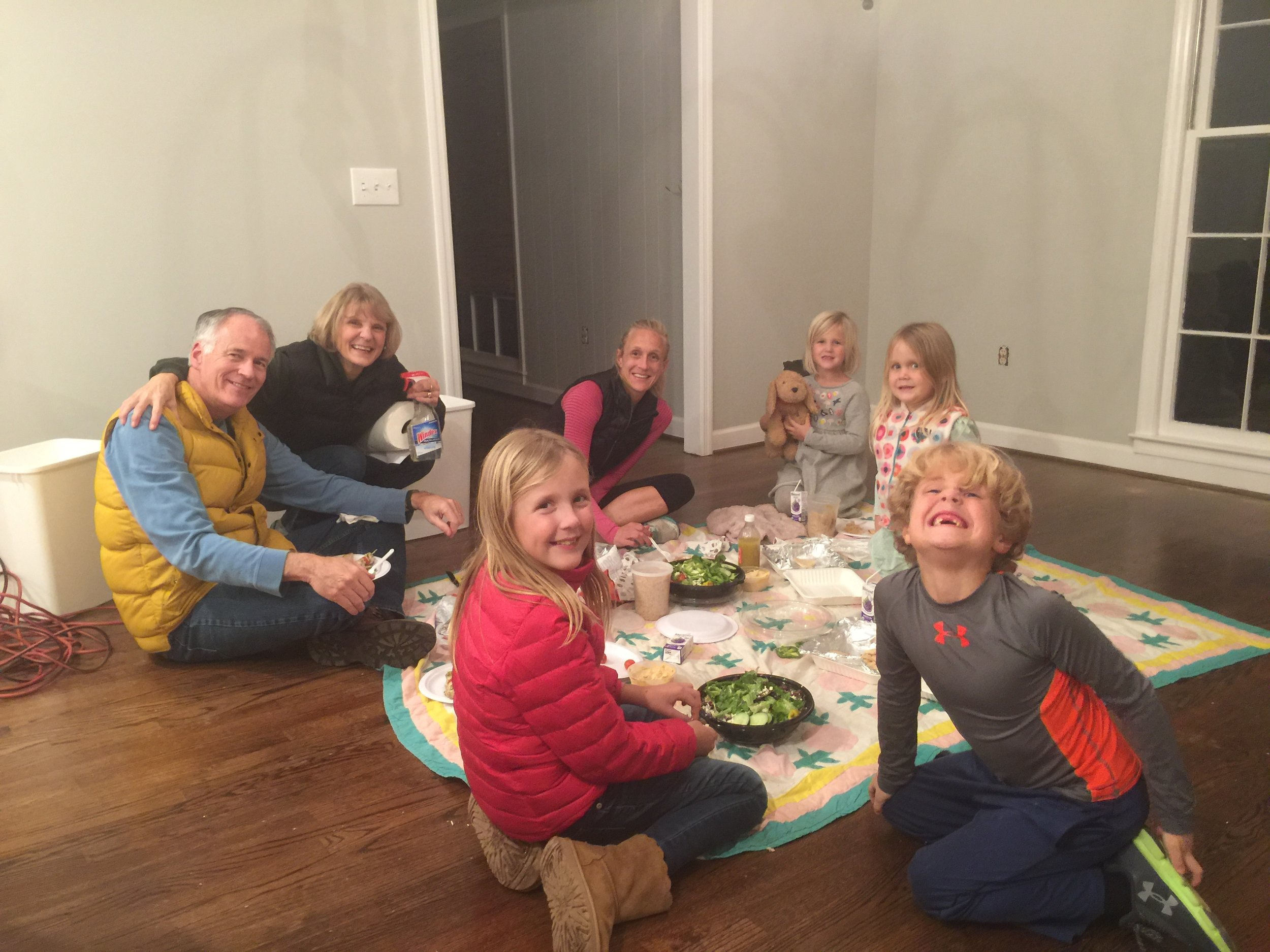 A QUICK DINNER IN THE KITCHEN (THANK YOU ZOE'S!) DURING ONE OF OUR CLEANING NIGHTS