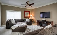 The family room is great for entertaining, but a little dark