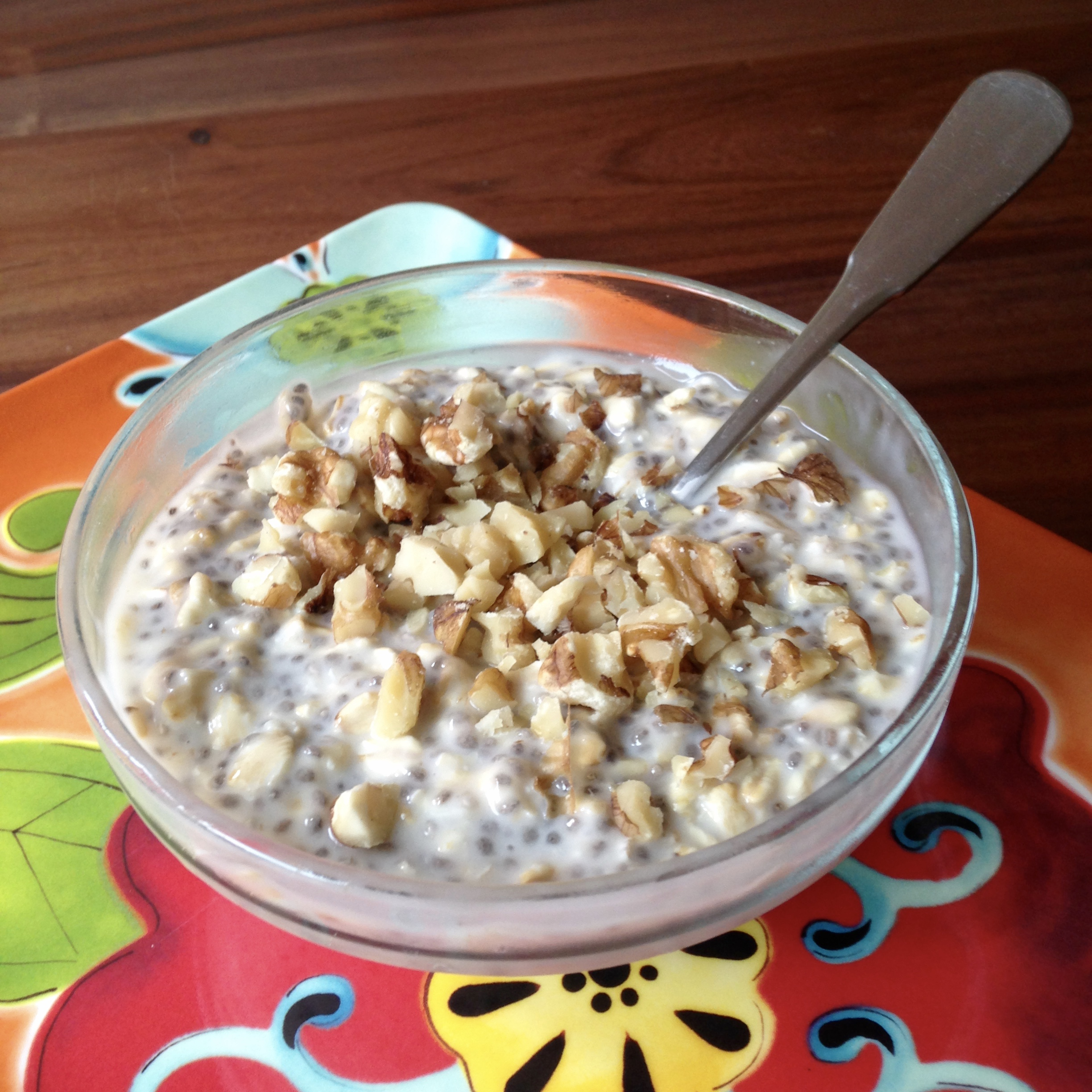 Chopped nuts are a great addition to the overnight oats recipe.