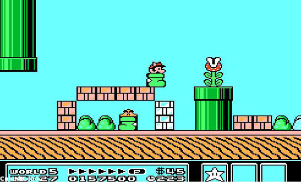 I'm not sure what's happening in this image, but it looks like Mario is hiding in a sock, terrified of the chompy plant.  Image credit: US Gamer