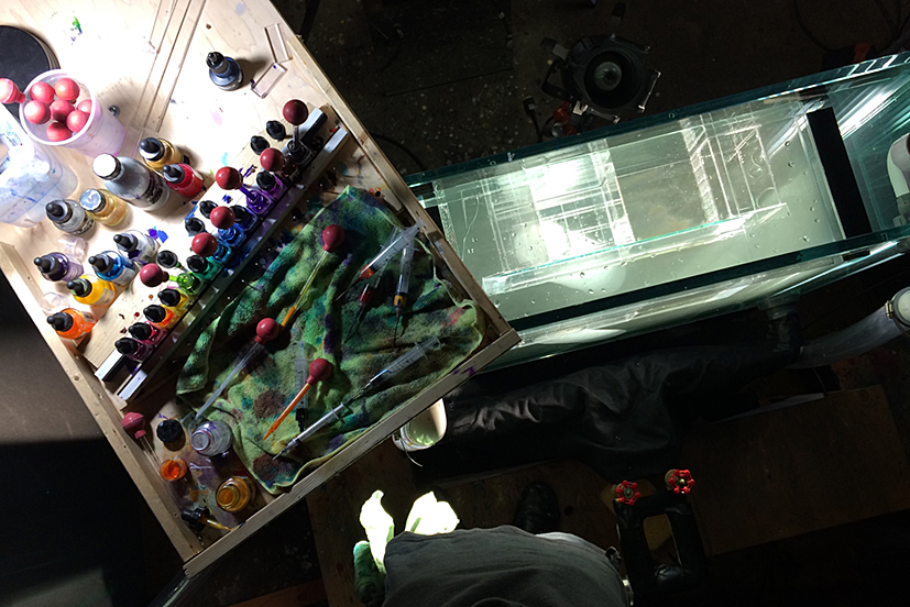 Artist view of palette and tank