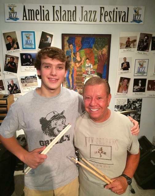 Cal Mason with Les DeMerle at the Drum Studio.