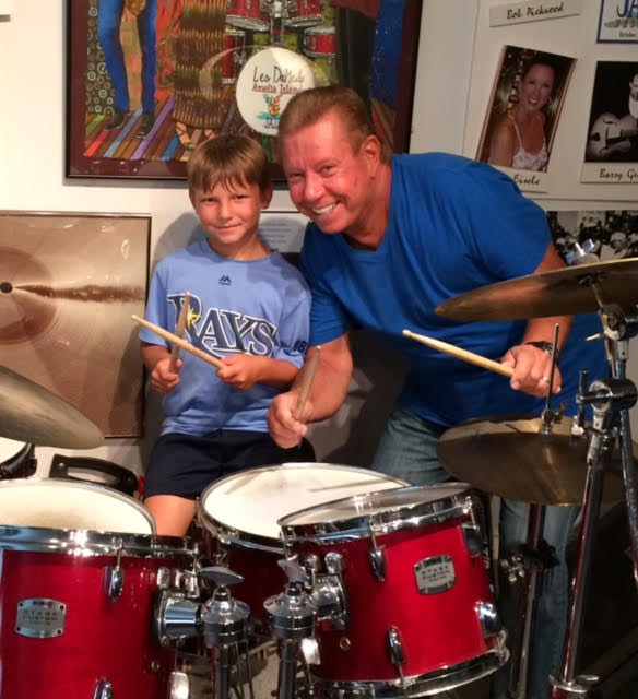 Miles Miller with Les DeMerle at the Drum Studio.