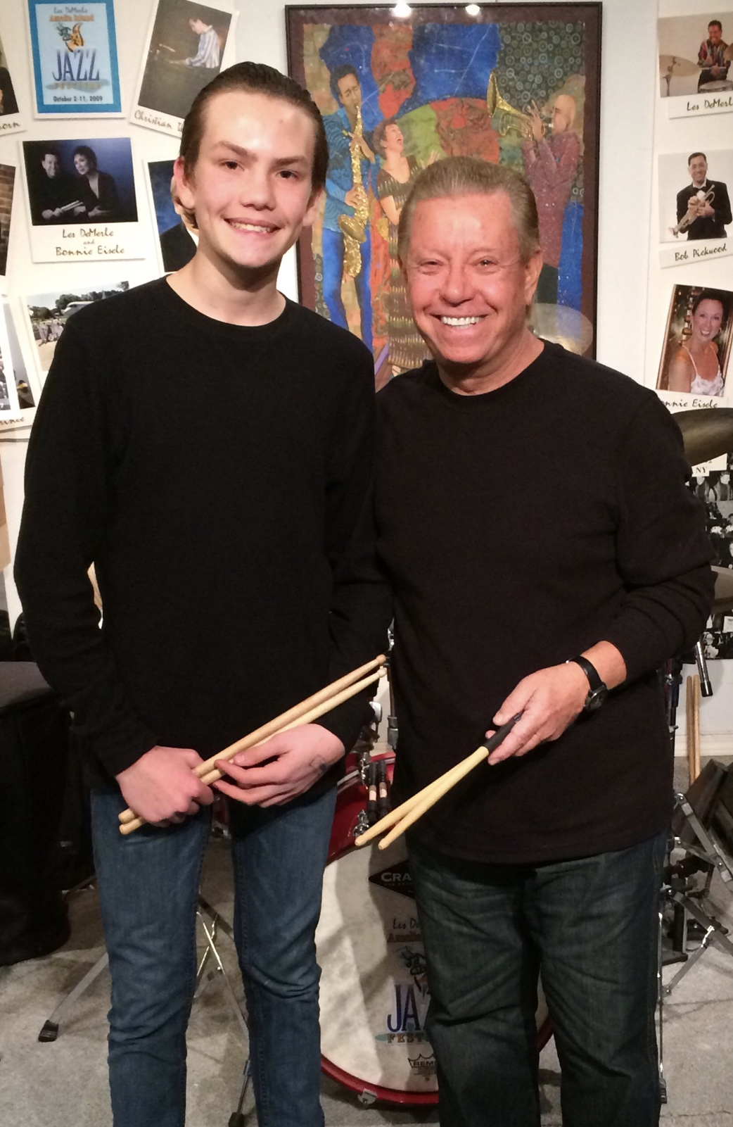 Hudson Kratochvil with Les DeMerle at the drum studio.