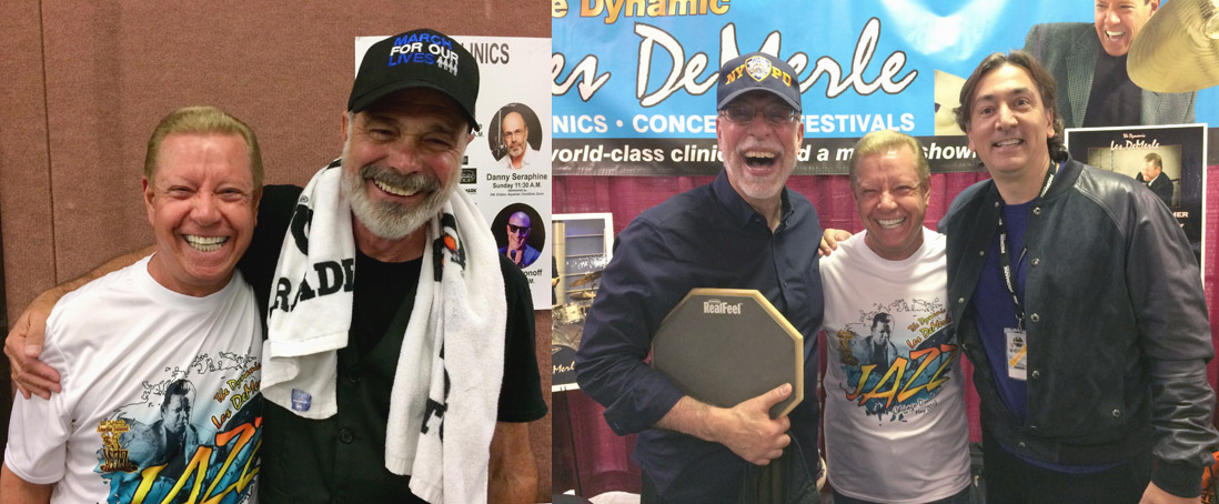 Les with Danny Seraphine, the original drummer for the band Chicago. Dom Famularo and David Frangioni stop by to visit Les and check out his amazing booth at the show.