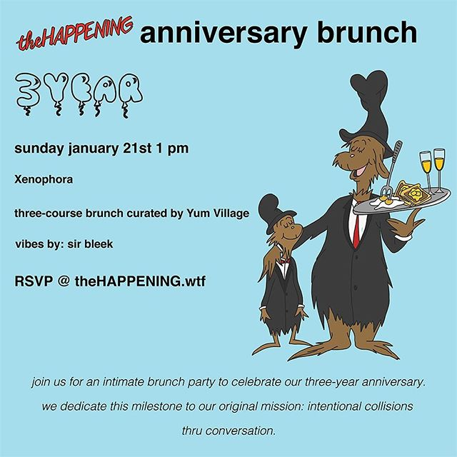 """Tmrw marks three years for #theHAPPENINGdet. To celebrate the milestone, we're hosting a three-course plated brunch prepped by @yumvillage at @xenophoraobjects. An intimate gathering of forward-thinkers, we'll be working with the AARP to discuss """"Entrepreneurial Responsibility"""" featuring @sebastianwho @pagingdrjoe & @heyitsll. @sirbleek on the one's & two's 