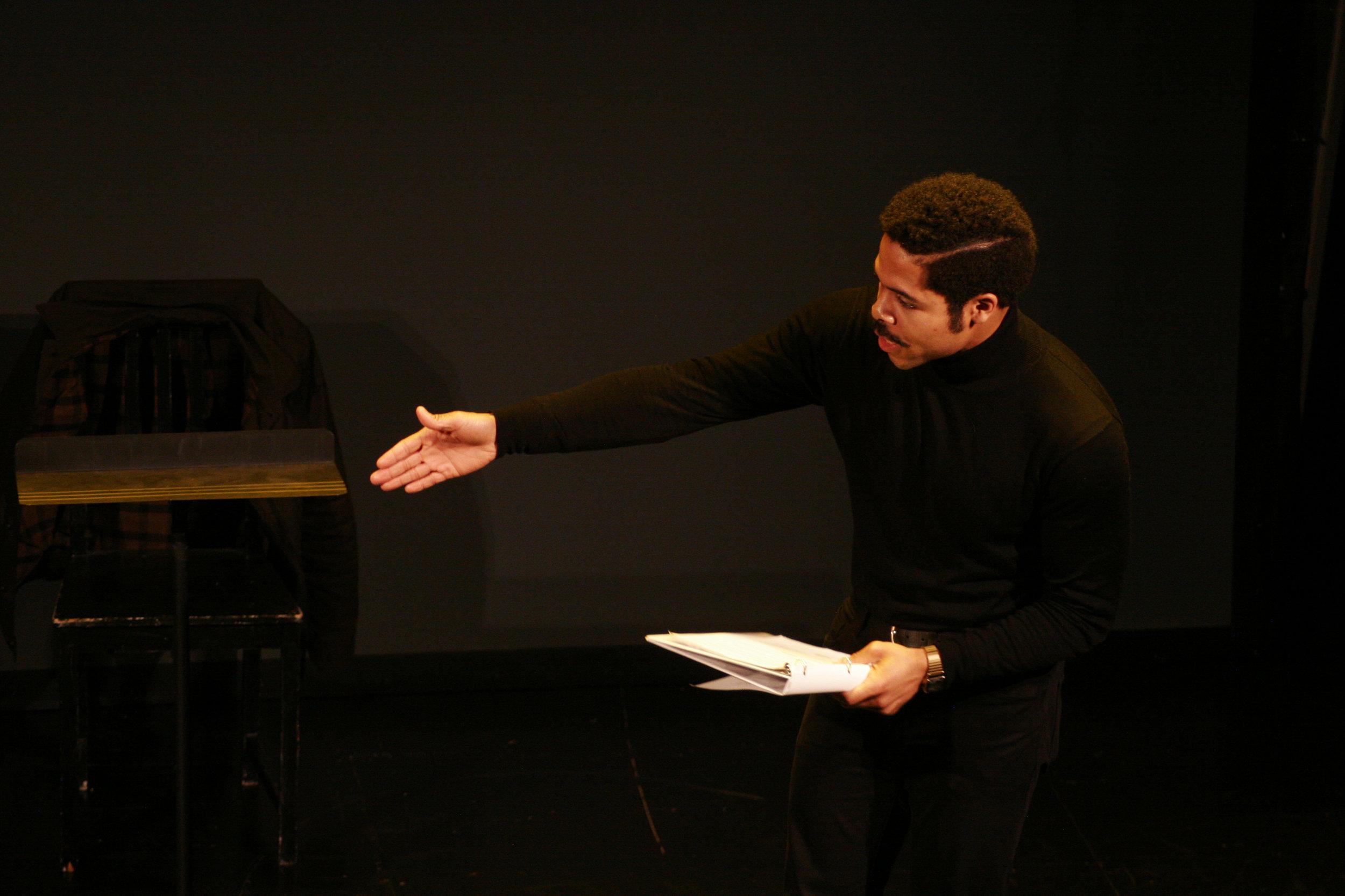 Darien LaBeach presented Jeorge Watson's monologue.Photo by Elisa Gutierrez