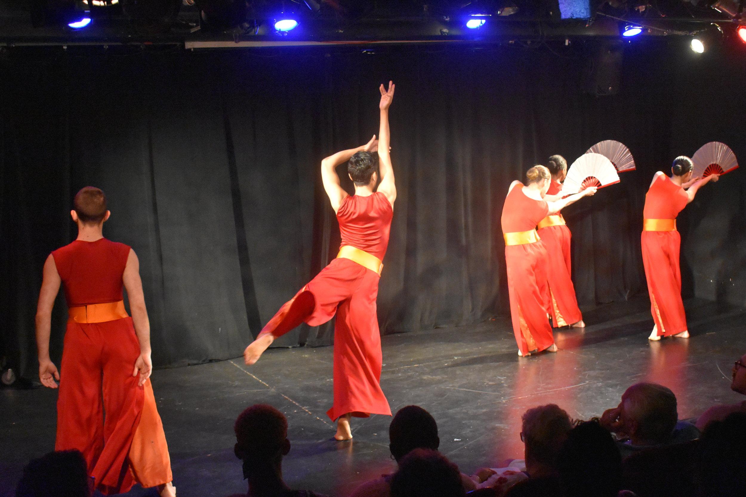 """Nai Ni Chen Dance Company interprets """"Fire."""" Photo by Mollie Block"""