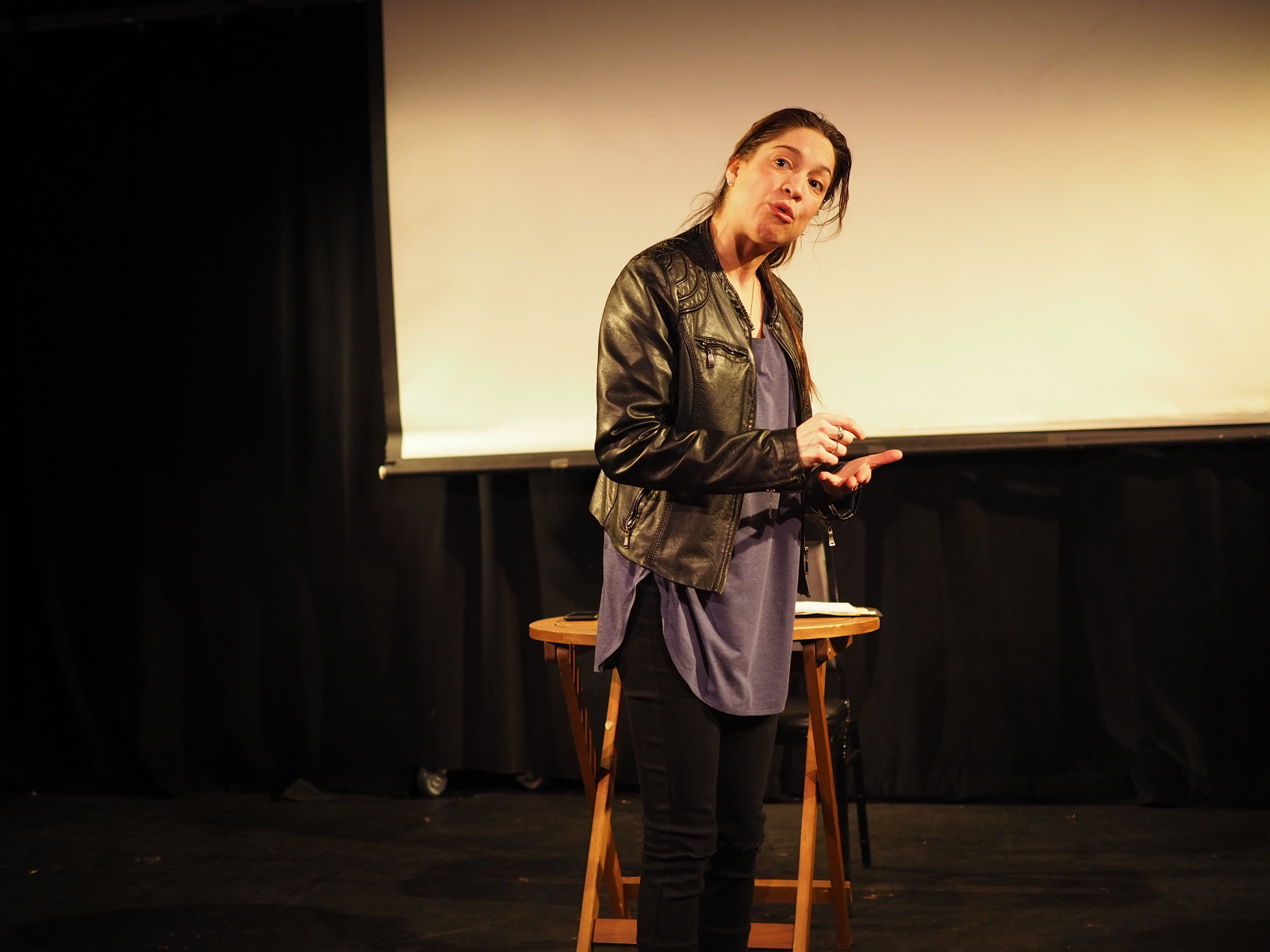 "Valeria Avina performing in Sara Farrington's one-woman play ""Honduras."" Photo by Oxana Chi"