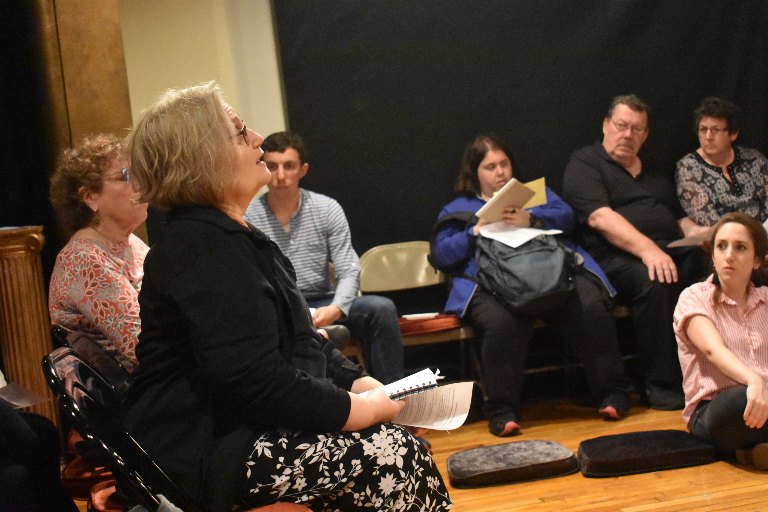 Participants share the poetry created during the medieval poetry workshop. Photo by Mollie Block