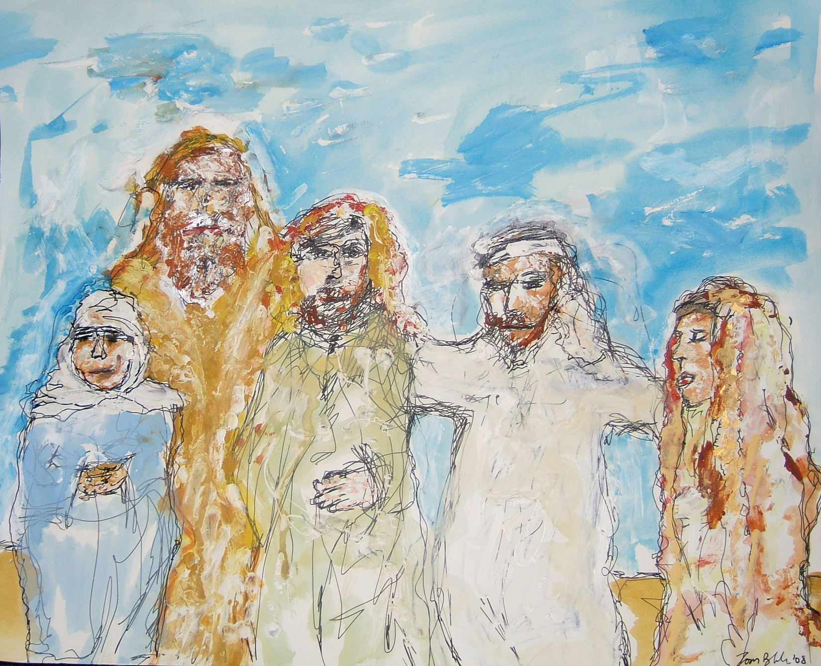 Abrahamic Family Reunion — Ishmael brings Hagar back together with Abraham, Isaac and Sara.