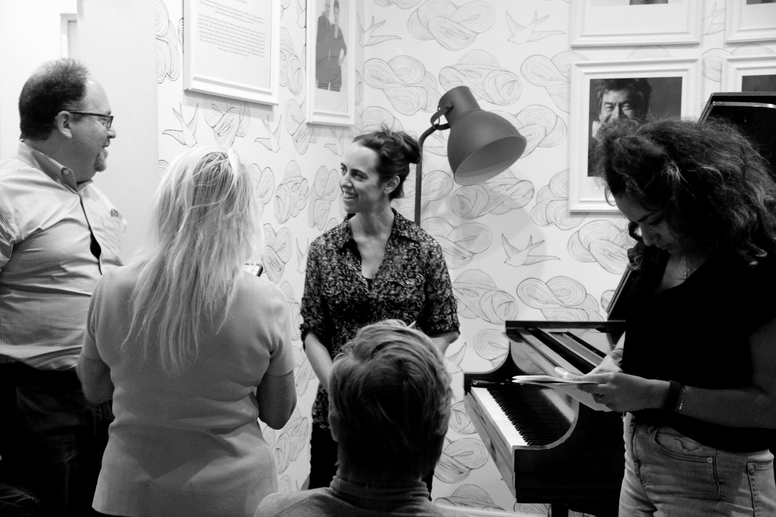 Jazz pianist Mara Rosenbloom talks with audience members after her performance.  Photo by Jagruti Deshmukh.