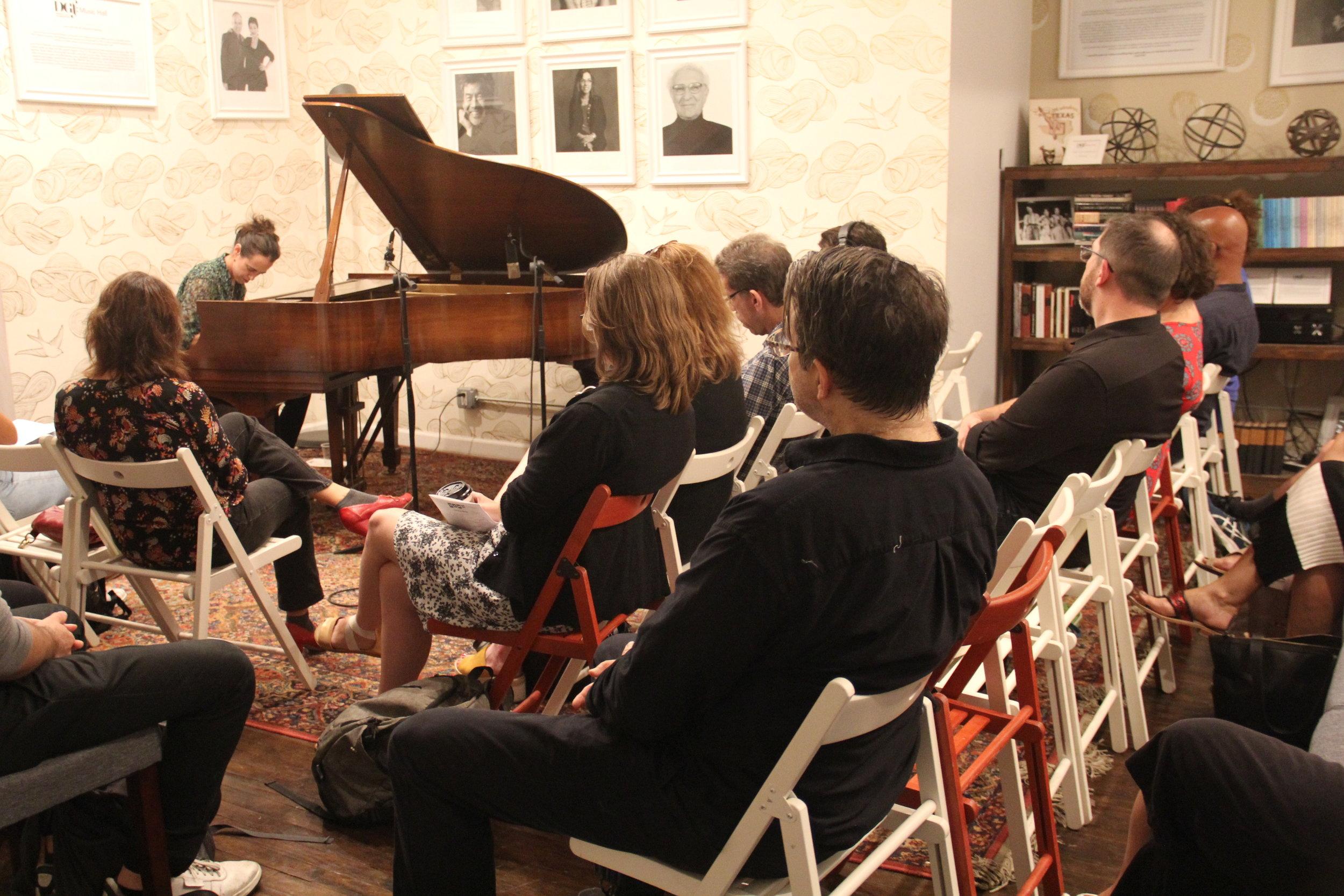 Mara Rosenbloom performs her improvisational piece.  Photo by Jagruti Deshmukh.