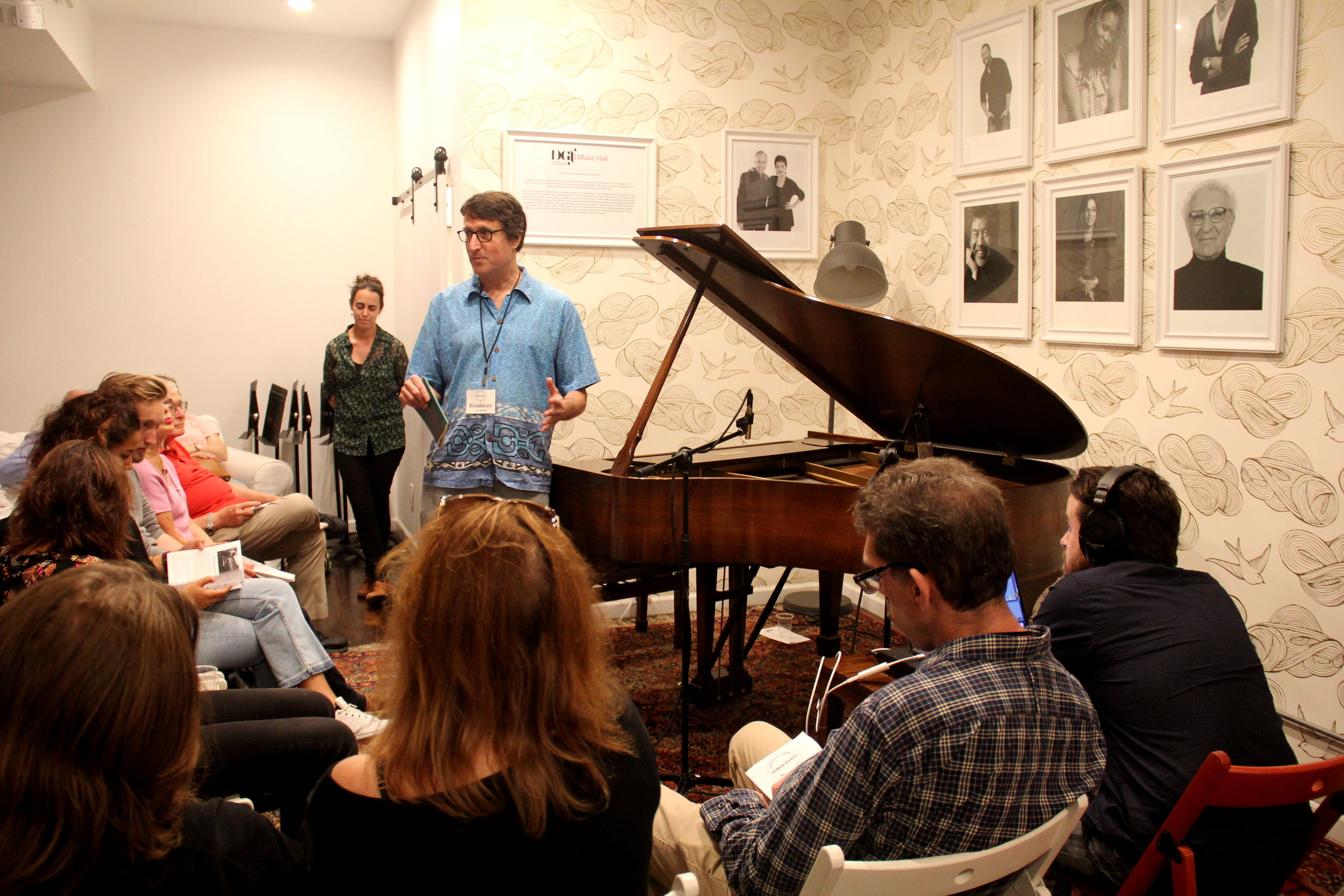 IHRAF Producer Tom Block introduces jazz pianist Mara Rosenbloom.  Photo by Jagruti Deshmukh.