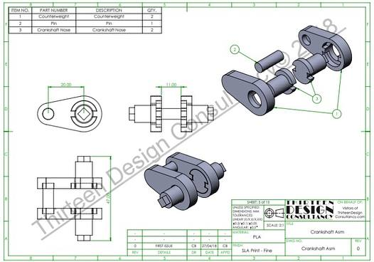 Sample Crankshaft - SolidWorks Assembly BOM production drawing, developed as part of the Single Piston Educational Model project.
