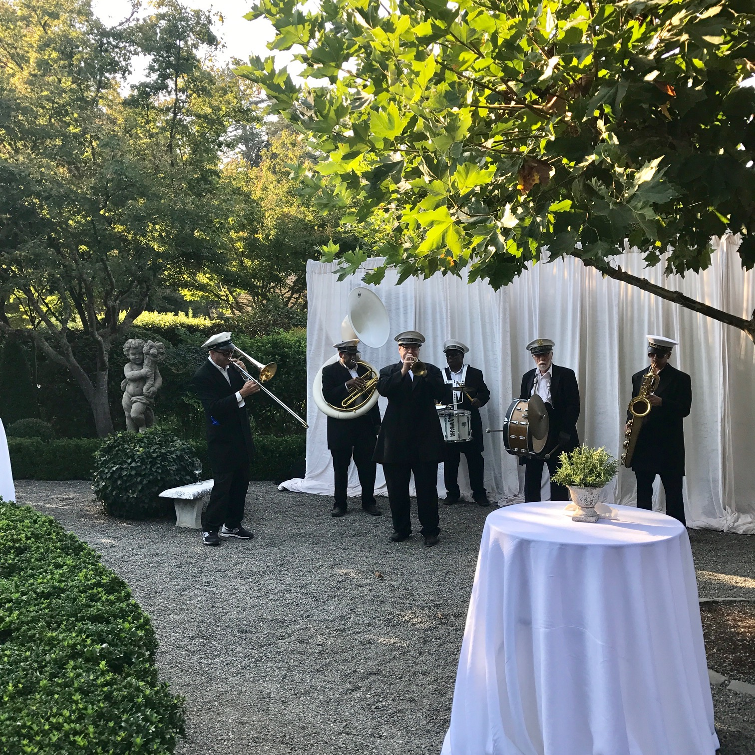 The New Orleans band welcomed guests to the garden for cocktails.