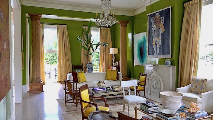 Jane's lacquered living room, a space Jane and her husband made larger by removing a wall after they purchased the home.