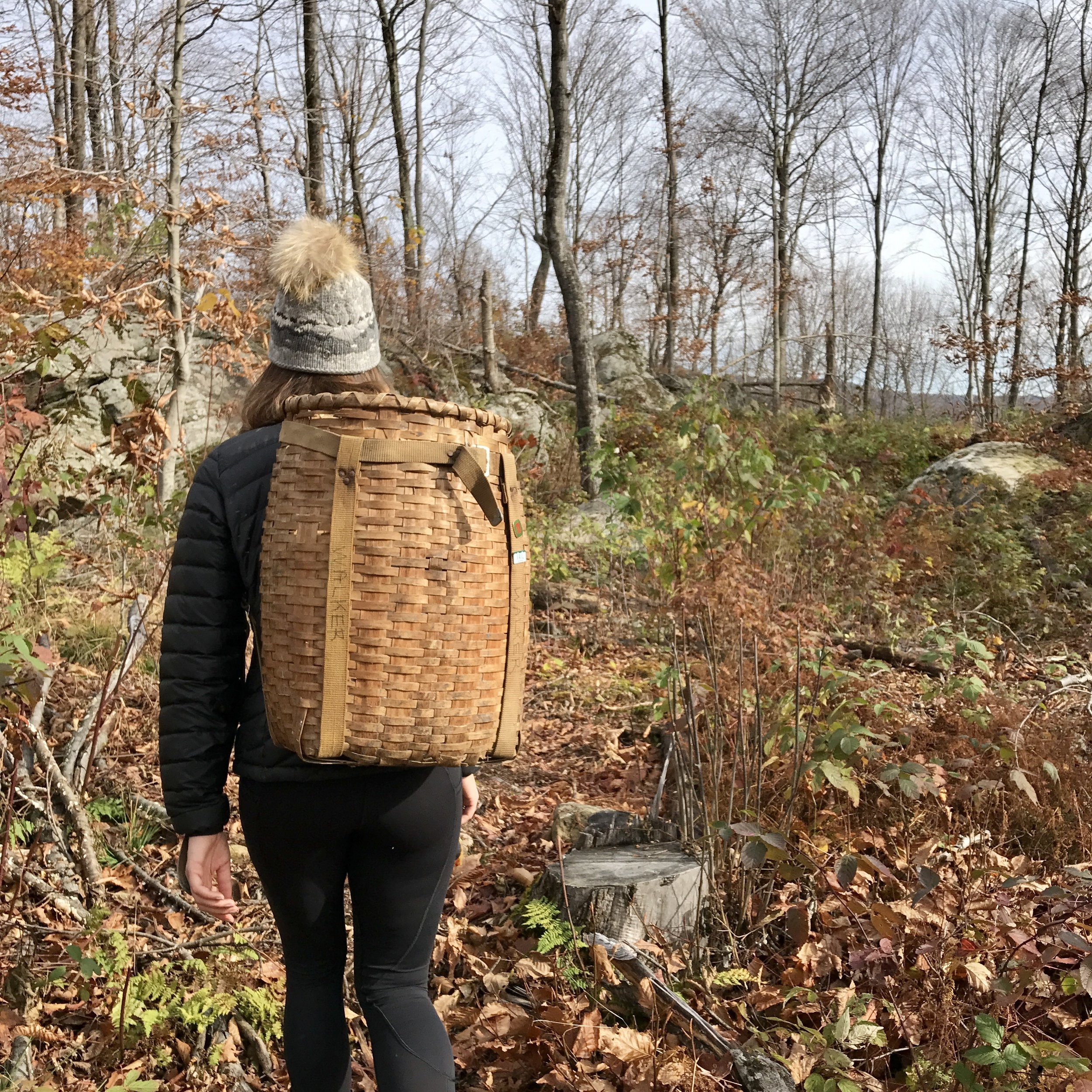 My sister meanders through the forest with my vintage Adirondack pack - perfect for holding all the mushrooms and ferns we foraged...