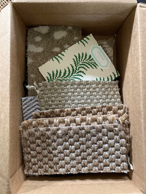 "In the box:  Soane's ""Scrolling Fern""  for the masterbath and a few natural fibers for the living room, stairs and bedrooms."
