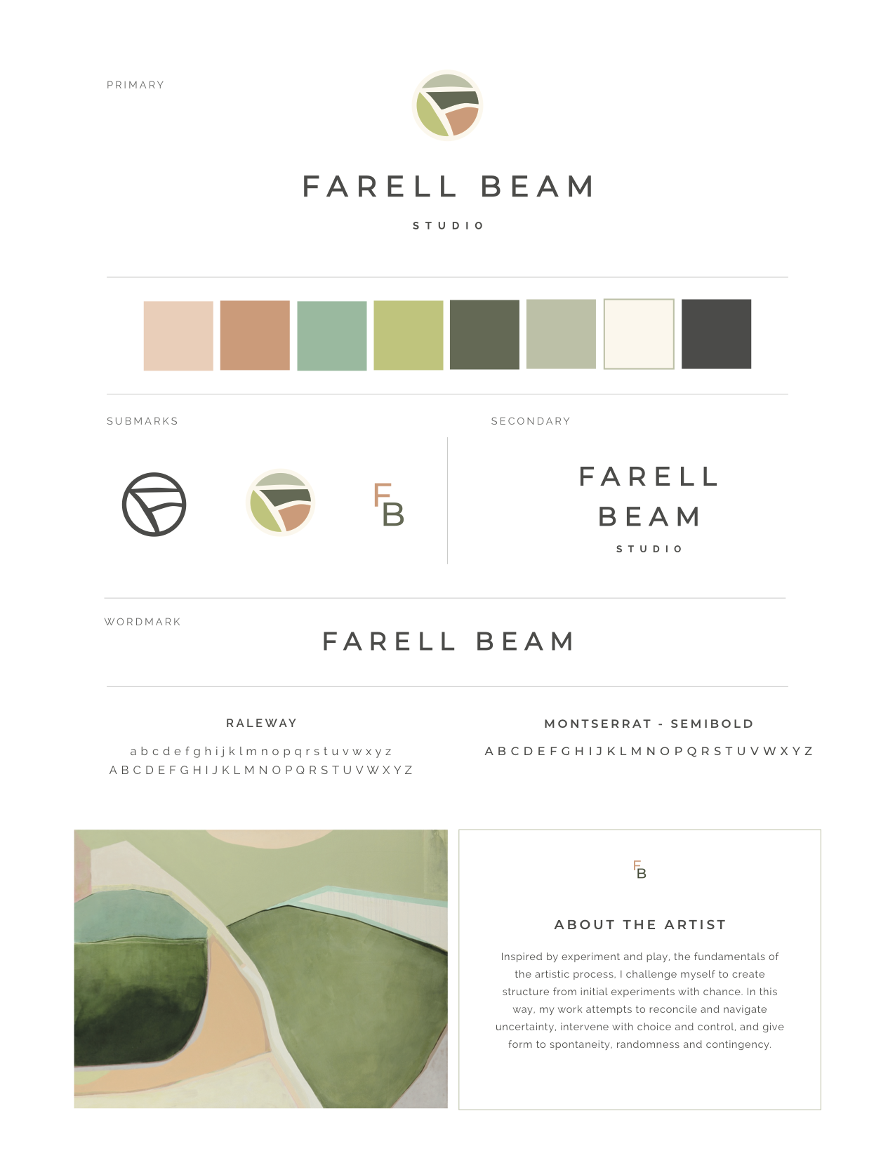 A selection of a branding suite completed for Bay-area artist Farell Beam.