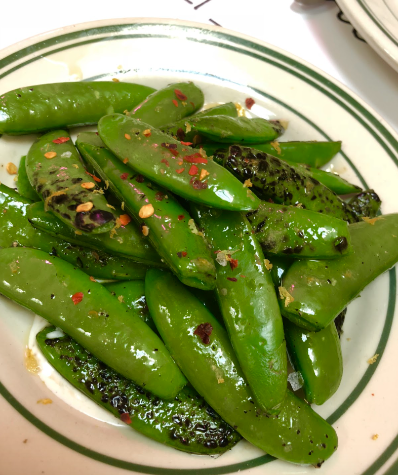 Charred Sugar Snap Peas. Photo by Emily Norfolk.